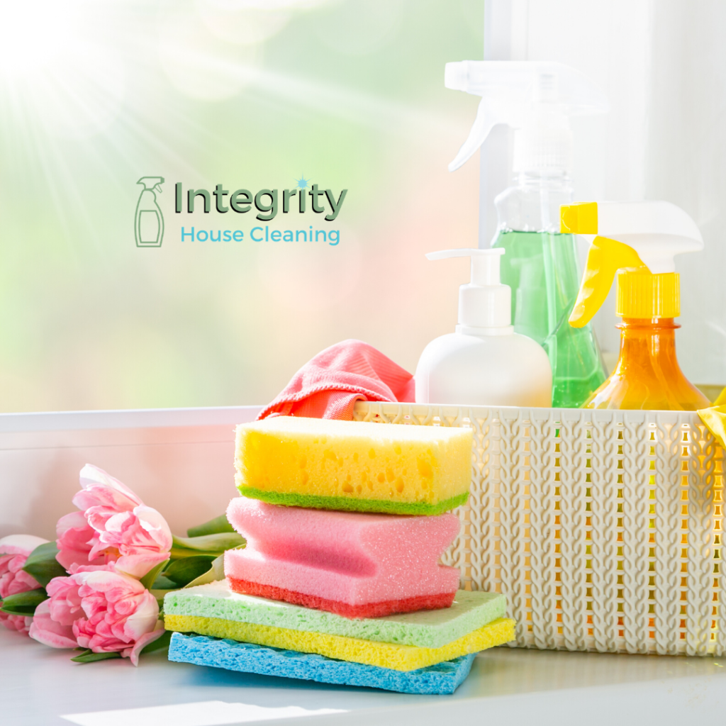 Cleaning products with logo of Integrity House Cleaning Trustworthy House Cleaner