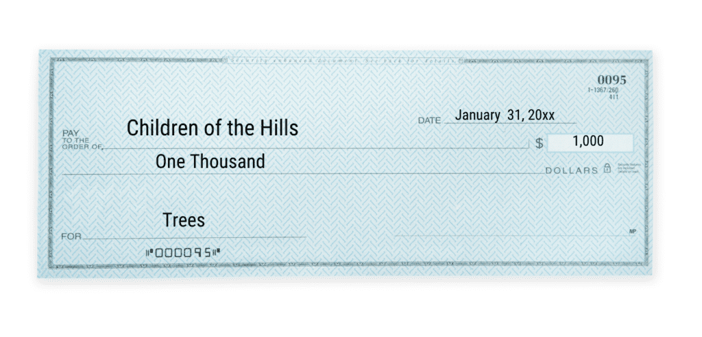 give to the trees donation check